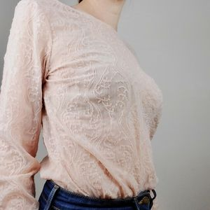 LOFT sheer long sleeve embroidered blouse